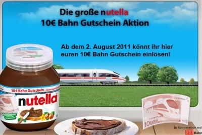 nutella bahn 400x268 10€ Bahn Gutschein in Nutella Gläsern