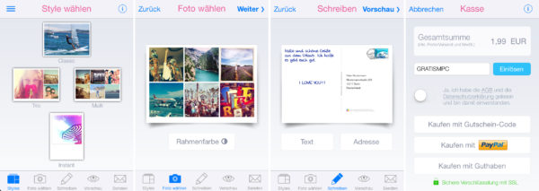 mypostcard gutscheincode screenshot