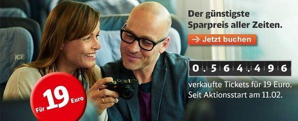 Deutsche bahn sparpreis aktion für 19€ ernstings family aktion mittwoch