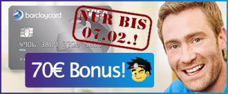 Beitragsfreie Barclaycard Kreditkarte mit 70 Euro Bonus