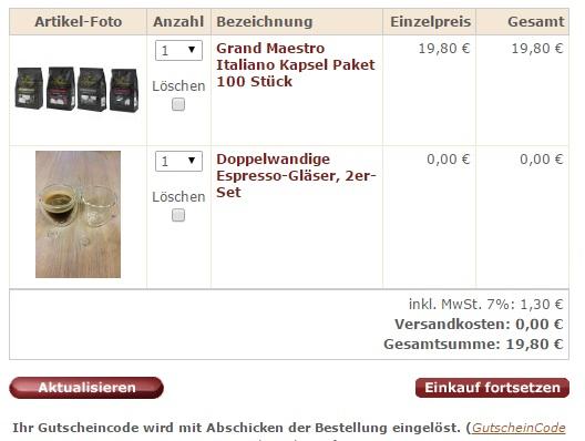 sweet and fine kaffeekapseln IBB Gutscheincode Beweis