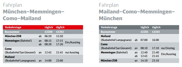 IC Bus nach Mailand Fahrplan