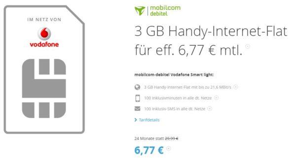vodafone 100 min 100 sms 3gb surf flat f r 6 77 monat. Black Bedroom Furniture Sets. Home Design Ideas