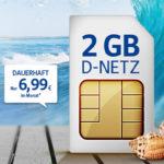 300 Min/SMS + 2GB LTE für 6,99€ (oder 3GB / 4GB) im D2- oder o2-Netz *bis 30.09.*