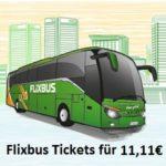 Flixbus Tickets für 11,11€ in der App - quer durch Deutschland und Europa (nur 200.000 Stück verfügbar)