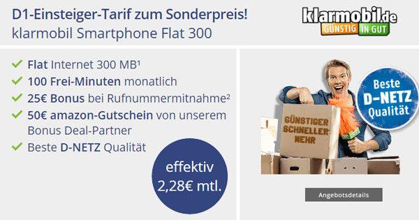 telekom 100 min 300mb f r 2 28 dank 50 klarmobil. Black Bedroom Furniture Sets. Home Design Ideas
