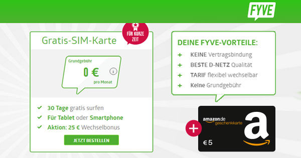 nur noch heute 3x 5 f r fyve gratis prepaid karte mit 500mb je einmalig. Black Bedroom Furniture Sets. Home Design Ideas