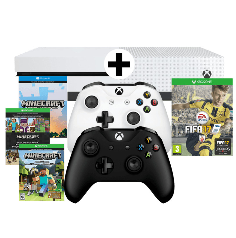 xbox one s 500gb 2 controller fifa 17 minecraft f r 256 statt 323. Black Bedroom Furniture Sets. Home Design Ideas