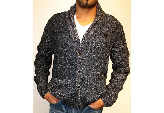 daniel hechter herren strickjacke shawl collar 855 f r 28 88. Black Bedroom Furniture Sets. Home Design Ideas