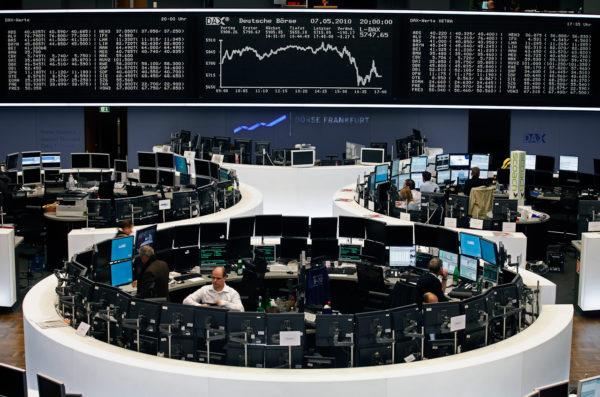 Broker beim Aktienhandel an der Bšrse Frankfurt