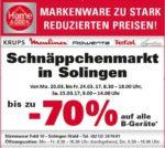(Lokal) Lagerverkauf: Krups, Moulimex, Rowenta, Tefal bis zu 70% Günstiger