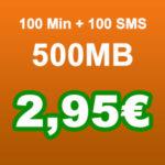 Vodafone-Netz: 100 Min + 100 SMS + 500MB für 2,95€ (Klarmobil) + 50€ Bonus bei Rufnummermitnahme