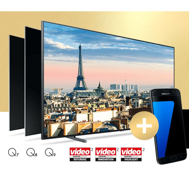 samsung qled smart tv kaufen gratis galaxy s7 s7 edge bekommen wert 500. Black Bedroom Furniture Sets. Home Design Ideas