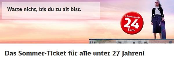 deutsche bahn sommer ticket 4x durch ganz deutschland ab 19 pro fahrt nur f r alle unter 27. Black Bedroom Furniture Sets. Home Design Ideas