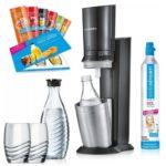 SodaStream Crystal 2.0 + 2 Glaskaraffen + 2 Gläser + 6 x 10ml Sirup-Proben + 60L Zylinder für 111€ (statt 120€)