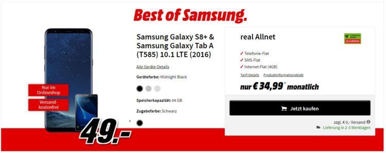 knaller galaxy s8 plus f r 49 mit allnet flat 4gb f r 34 99 monat gratis tablet tarif. Black Bedroom Furniture Sets. Home Design Ideas