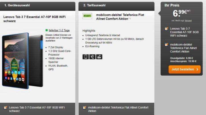 o2 netz allnet flat 1gb lte f r 5 99 monat oder 6 99 monat lenovo tablet. Black Bedroom Furniture Sets. Home Design Ideas