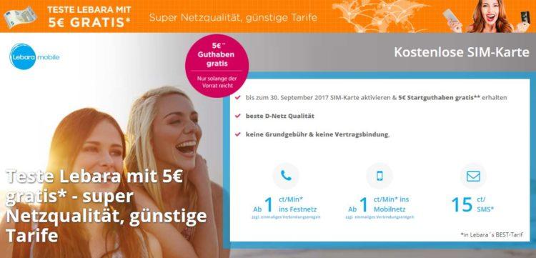 GRATIS: Lebara Prepaid-SIM + 3€ Startguthaben + 200MB ...