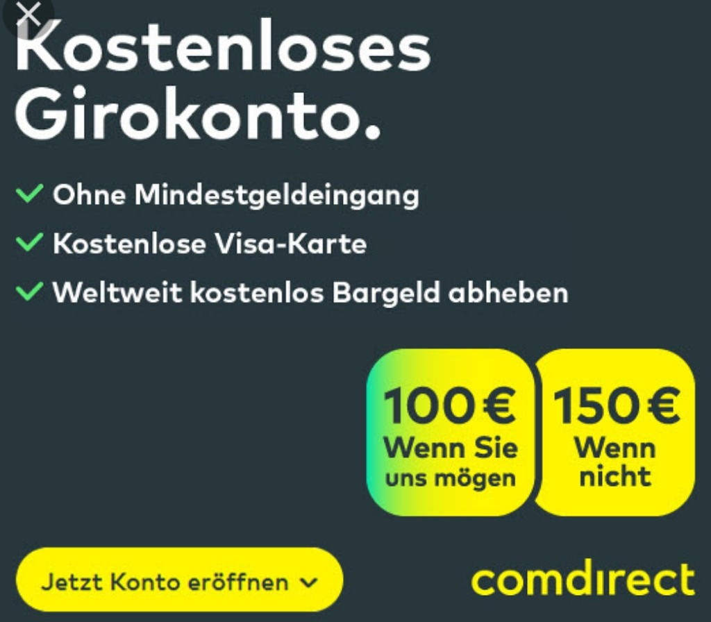 Visa Karte Comdirect.Comdirect Girokonto Mit Bis Zu 100 Prämie Kostenlose Visa Karte