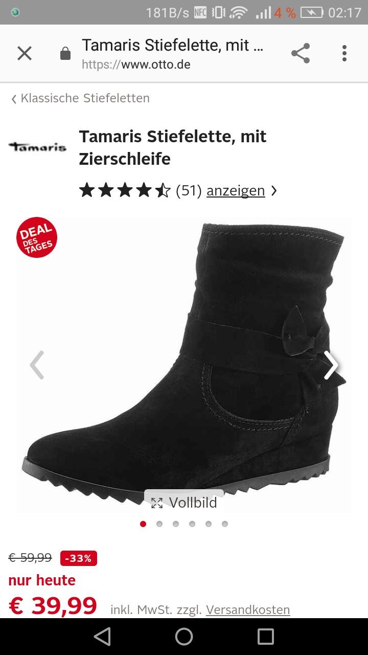 buy popular bb997 4bd00 NUR HEUTE<<< TAMARIS Stiefelette für Otto Neukunden nur 20 ...