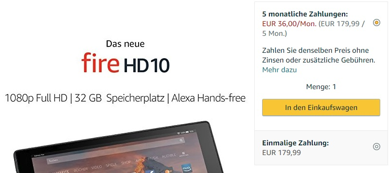 Amazon fire HD10 Ratenzahlung