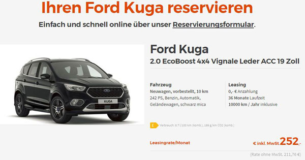 leasing ford kuga 2 0 ecoboost 4x4 schon ab 252. Black Bedroom Furniture Sets. Home Design Ideas
