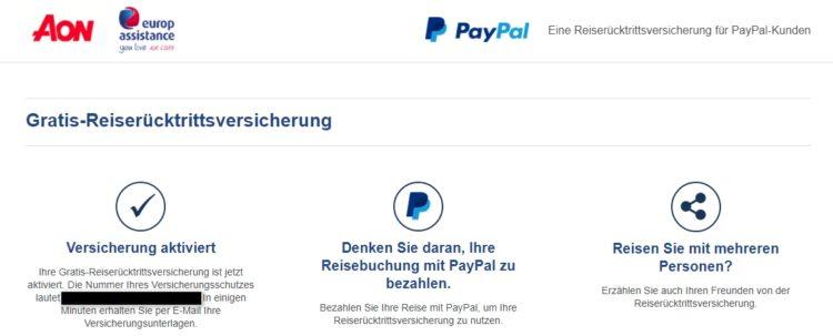 PayPal Reiseversicherung Abschluss