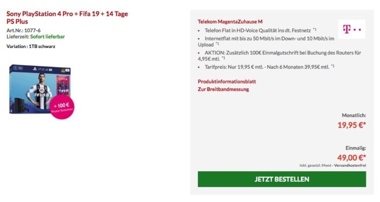 telekom dsl ps4 pro fifa 19 ab effektiv 10 magenta zuhause m. Black Bedroom Furniture Sets. Home Design Ideas