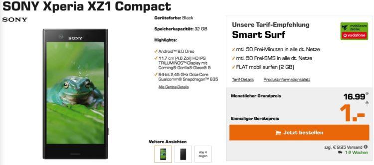 Sony Xperia XZ1 Compact (2017) Für 16,99€ + 2GB Surf-Flat