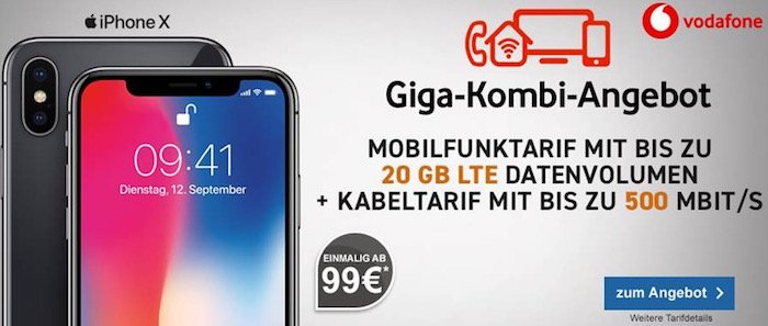 IPhone X 14GB LTE Vodafone 500 DSL