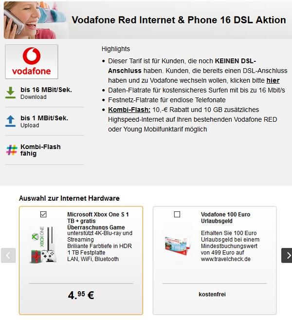 Vodafone Red Internet & Phone DSL 16/50/100 ab 22,28€ inkl