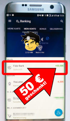 o2 Banking App mit Konto-Ansicht