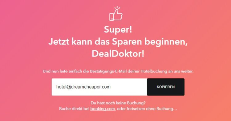 Dreamcheaper Bestätigungs-Email