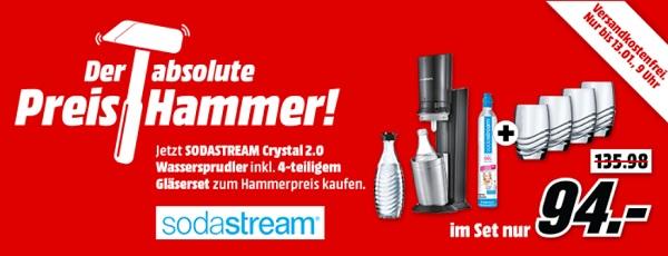 Sodastream Crystal 2 0 Mit Glaskaraffe Co2 Zylinder Und 4