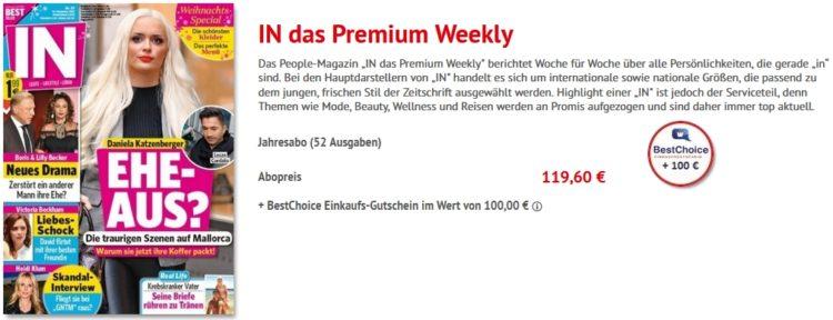 jahresabo in das premium weekly f r 119 60 100 bestchoice gutschein. Black Bedroom Furniture Sets. Home Design Ideas