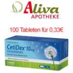 70x Ibuprofen für 1,93€ / 100x CetiDex Allergietabletten für 0,33€ & mehr: Aliva Apotheke mit 5€ Gutschein (5€ MBW) + 0€ Versand für Neukunden