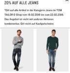 Tom Tailor 20% Rabatt auf alle Jeans vom 18.02-22.02.18