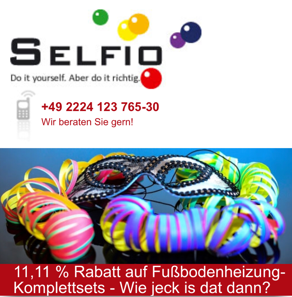 bei selfio 11,11% rabatt auf fußbodenheizung komplettsets
