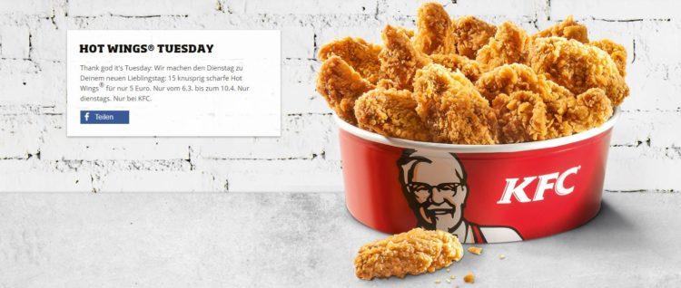 Kfc Dienstags Angebot 15 Hot Wings Für 5 2x Pommes1x Pommes