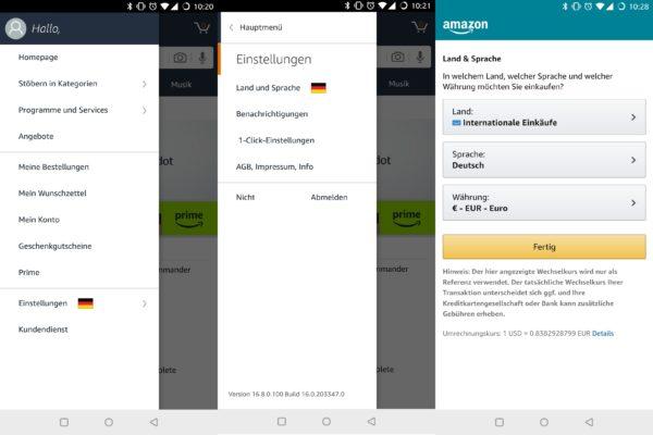 Amazon International umstellen