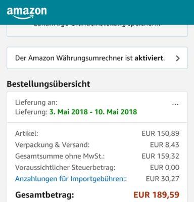 AmazonGlobal Cozmo Zahlung