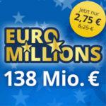 EuroMillions: 3 Felder für 2,75€ (statt 8,25€) - Neukunden - 138 Mio. € Jackpot
