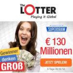 Euro Millions Superdraw: 50% Rabatt beim 130 Mio € Jackpot für TheLotter-Neukunden - z.B. 3 Felder für 8,40€ (statt 16,80€) *Ziehung am 21.09.*