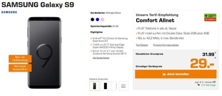 samsung galaxy s9 mit vodafone allnet flat 4gb f r 31 99 monat. Black Bedroom Furniture Sets. Home Design Ideas