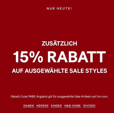 H&M: 15% Rabatt auf ausgewählte Sales Styles + gratis Versand