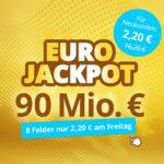 Eurojackpot mit 90 Mio € Jackpot - 8 Felder für 2,20€ (statt 16,20€) oder Spielgemeinschaft für 9,90€ (statt 18,20€) - Lottohelden-Neukunden
