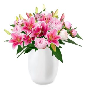 Pfingstrosen und Lilien Blumen
