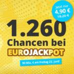 Eurojackpot mit 90 Mio € Jackpot - 8 Felder für 2,20€ (statt 16,20€) oder Spielgemeinschaft für 4,90€ (statt 18,20€) - Lottohelden-Neukunden