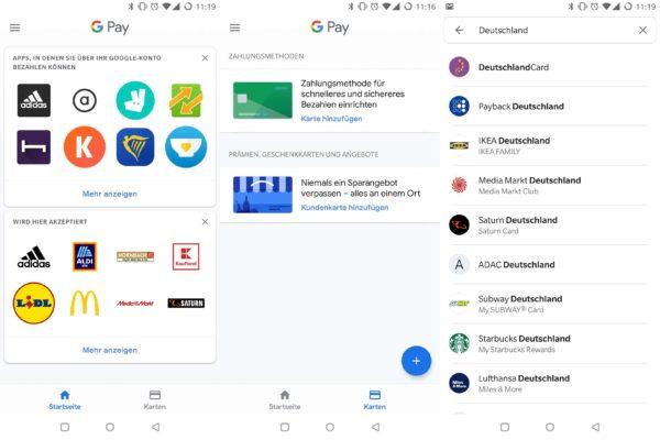 Google Pay App Karten