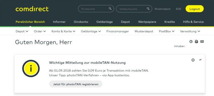 comdirect mobileTAN Kosten